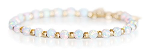 Gold Bracelet for Women Luminous 4mm White Fire Opal + 14k Dipped Gold beads by Benevolence - Tiffany Gold