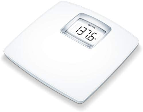 Amazon Com Beurer Ps25 Personal Bathroom Scale Smart Accurate Body Weight Control Xl Scale With Illuminated Lcd Display High Precision Weighing Timeless White Design Quick Start Batteries Included