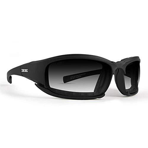 Hybrid Photochromic Padded Motorcycle Sunglasses Clear to Smoke Lens ANSI ()