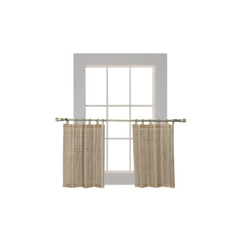 Bamboo Ring Top Curtain BRP05 2-Piece Ring Top Tier Set, 48 by 24-Inch, Driftwood