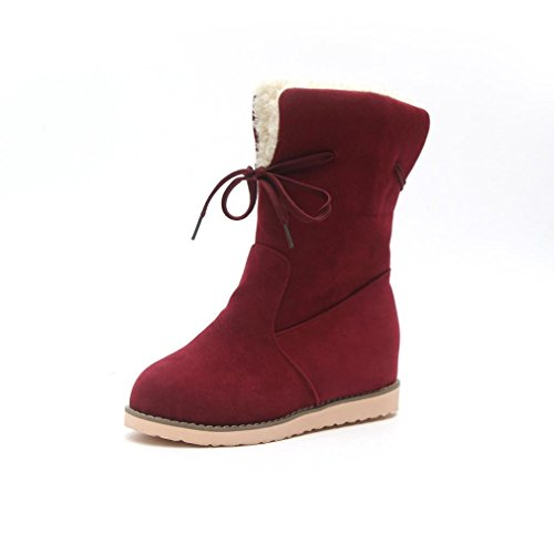 Select Wide Snowboard (Womens Low Wedge Biker Ankle Boots Trim Flat Ankle Warm Martin Shoes Red by TOPUNDER)