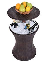 Cypressshop Outdoor Patio Height Adjustable Rattan Ice Cooler Wicker Table Cool Bar Party Deck Pool Dining Home Furniture