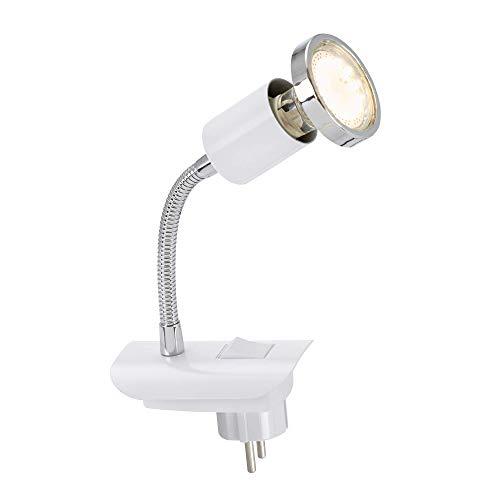 Briloner Leuchten LED stekkerlamp CLIP met flexibele arm, incl. AAN/UIT-schakelaar, 250 lumen, 3.000 Kelvin, wit, andere…