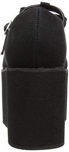 Click-08 plateau schoen met bandje zwart - Emo Gothic