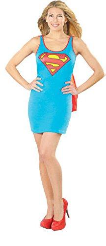 Rubie's DC Comics Justice League Superhero Style Adult Dress with Cape Supergirl, Blue, Large (Supergirl Tank Dress)