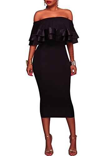 Club Black 1 Dress Shoulder Bodycon Fitted Ruffles Midi Women's Party Wonderoy Off Cocktail qPRXX1
