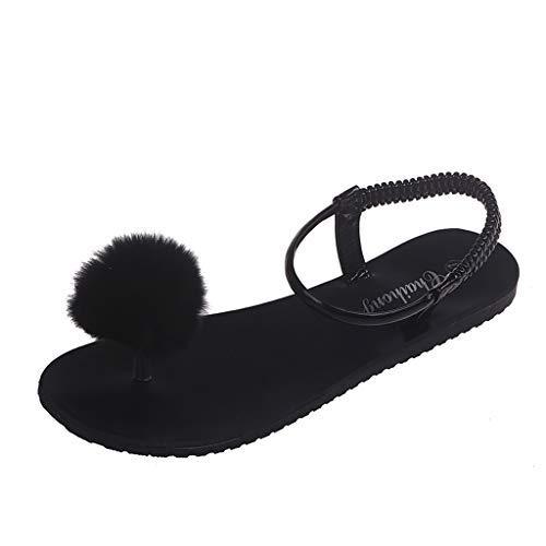 Baigooswt Bohemian Ethnic Style Flat Shoes Female Hairball Sandals Sandals Beach Slipper
