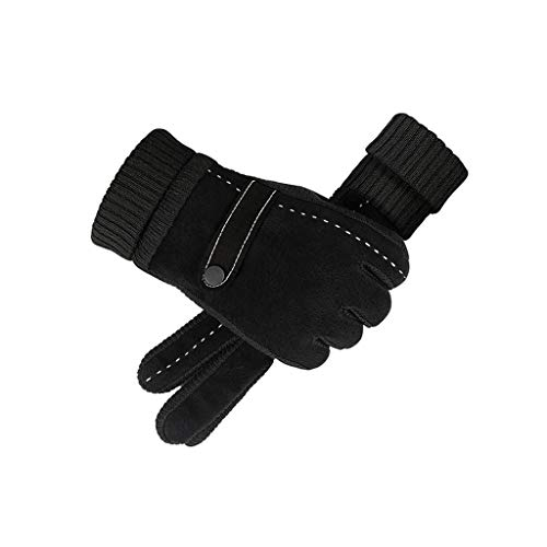 (FZH Gloves,Plus Velvet Winter Artificial Pigskin Outdoor Cycling,B)
