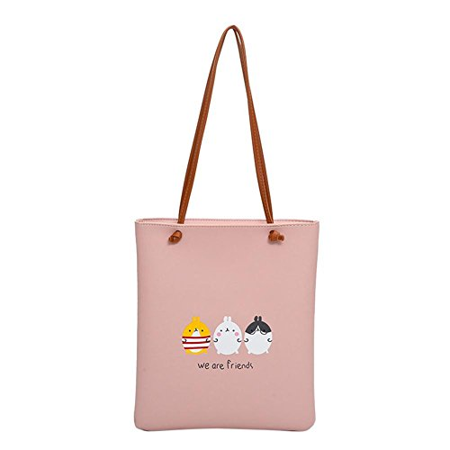 Big Domybest Leather Bag Cartoon Women Handbags PU Pink Brief Shopping Shoulder Bag wZ7wzqC