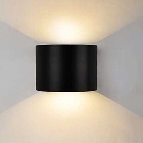 Awakingdemi Outdoor Wall Sconce,7W Led Wall Sconces Wall Lights IP67 Surface Mounted Outdoor Cube Lamp Waterproof Up & Down (3.94x3.94x3.94inch) (Semicircle Black Warm White)