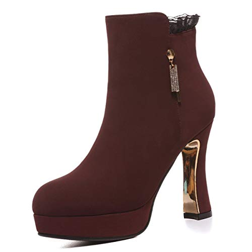 Transpirable Botas Botas Mujer Impermeables Alto de Cuadro Sole Boots otoño AJUNR Invierno Martin Talon Tacon gules e Zapatos de Grueso dZ7qOn0wx