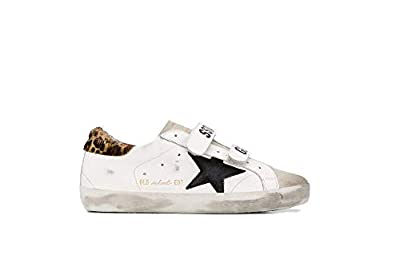 Golden Goose Women's Old School White Leather/Leopard Pony G36WS206.B3