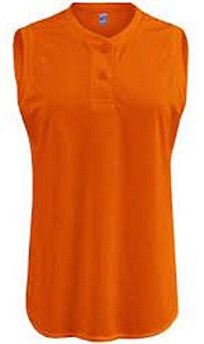 - Soffe Ladies Sleeveless Orange Two-Button Henley-2XL