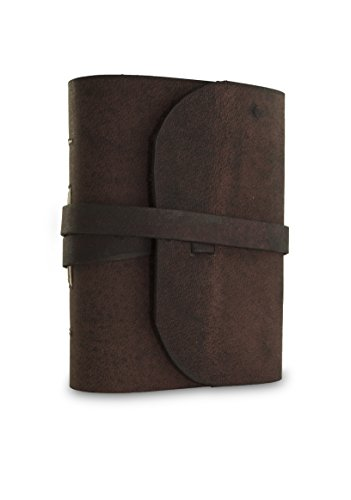 Everest Explorer Leather Writing Journal with Handmade Vintage Lokta Paper, Made in the Himalayas of Nepal, 4.25 x 5.5 inch, Small