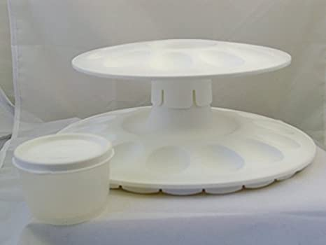 Tupperware Egg-Ceptional Server Set White 2-Tier Appetizer Tray