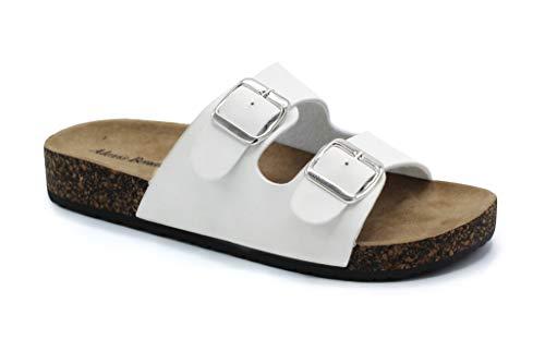Alexis Bendel Kylie-01 Women Double Buckle Straps Sandals Flip Flop Platform Footbed Sandals White 8