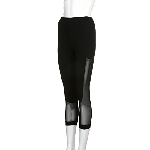 Bokeley Women Yoga Pants, Clearance!Women Sexy Cutout Mesh Skinny Leggings of Patchwork Mesh Yoga Leggings Fitness Sports Pants Capri