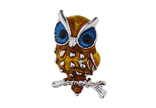 Collector Brooch Pin Wise Old Owl Silver Tone Blue and Gold Enamel Pin
