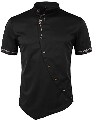 ZEROYAA Mens Hipster Irregular Hem Slim Fit Short Sleeve Mandarin Collar Shirts with Embroidery ZHCL23 Black ()