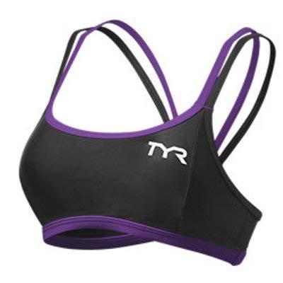 TYR Women's Competitor Thin Strap Tri Bra (Medium, Black/Purple)