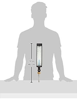 """PIC Gauge AS5H9EA-CC Eco-Red Spirit Filled Industrial Thermometer with Aluminum Case, Adjustable Angle, 9"""" Scale, 3-1/2"""" Stem Length, 20/180° F Temperature Range"""