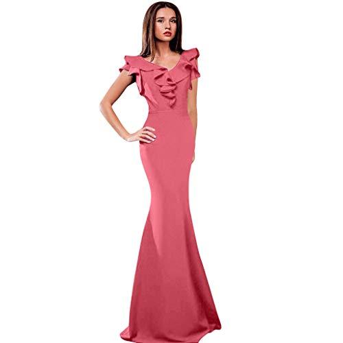 Botrong Dress for Women Summer V Neck Ruffle Beach Long Dresses Bohemian Party Dresses (Pink,L)