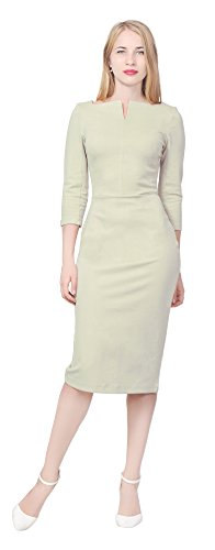 (Marycrafts Women's Work Office Business Square Neck Sheath Midi Dress 20 Beige)