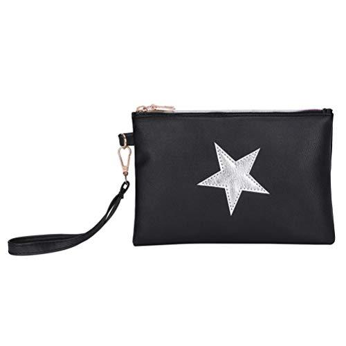 Creazy Zipper Purse Bag, Women Fashion Leather Star Pattern Zipper Clutch Bag Coin Bag Makeup Pouch (Black) ()