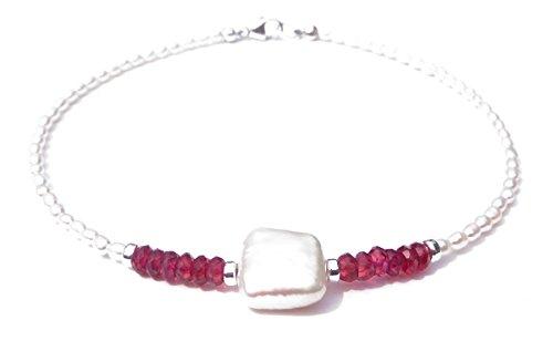 - DAMALI Handmade Silver Faceted Garnet Baroque Pearl Faceted Gemstone Beaded Anklet