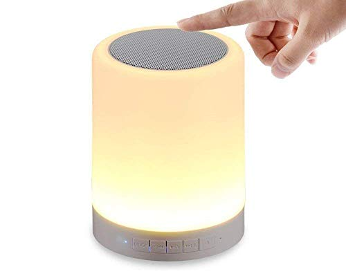 PaxMore LED Touch Lamp Bluetooth Speaker, Wireless HiFi Speaker Light, USB Rechargeable Portable with TWS for Party Festival Camping, Different Lighting Modes