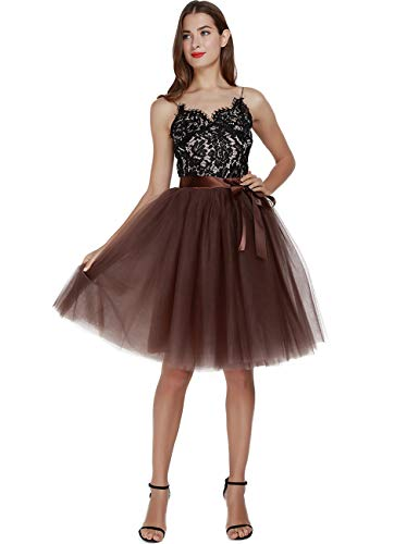Women's High Waist Pleated Princess A Line Midi/Knee Length Tutu Tulle Skirt for Prom Party (Plus Size, Coffee) ()