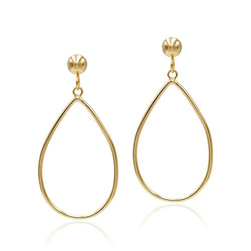 Sea of Ice Yellow Gold Flashed Sterling Silver Open Teardrop Dangle Hoop Earrings 5mm Bead Post for Women ()