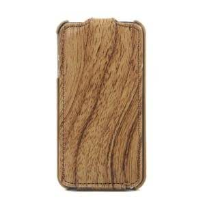 Luxury Wood Grain Design Leather Cover Case for Apple iPhone 4 (White)