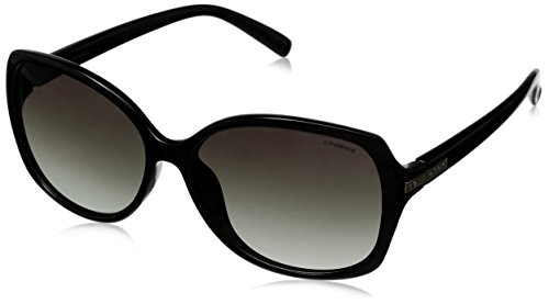 Polaroid Sunglasses Women's PLD5011S Polarized Rectangular Sunglasses, Shiny Black & Green Gradient Polarized, 58 - Sunglasses Polaroid Usa