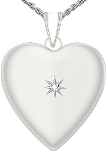 1.25in 0.925 Sterling Silver 2 Photo Heart Locket with Diamond Accent Pendant 3.3mm Rope Necklace, 24'' by US Jewels And Gems