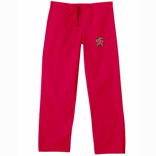Maryland Terps NCAA Classic Scrub Pant (Red) (X Small)