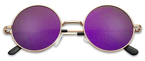 Classic Small Vintage Round John Lennon Inspired Red Lens Sunglasses (Rose Gold / Purple Mirror, - Mirror Sunglasses Lennon John