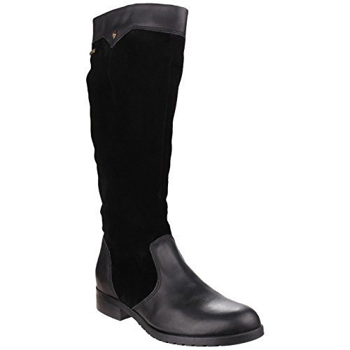 Cotswold Womens/Ladies Cote Tall Leather Textile Lined Country Boots Black