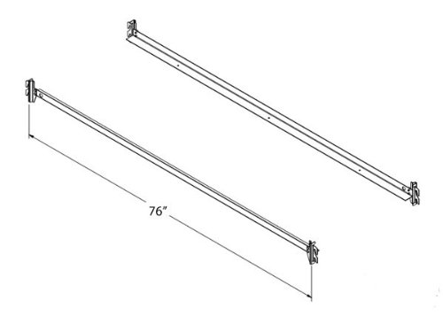 """Steel Bed Side Rails with Hook-On Claws, 76"""" Long for Twin & Full Size Beds"""