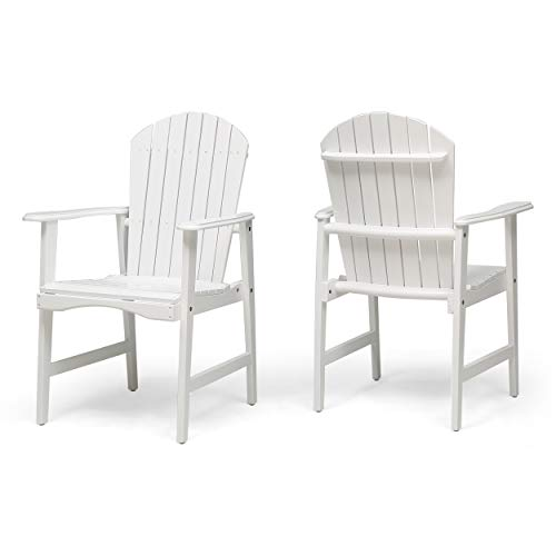 Easter Outdoor Weather Resistant Acacia Wood Adirondack Dining Chairs (Set of 2), White Finish