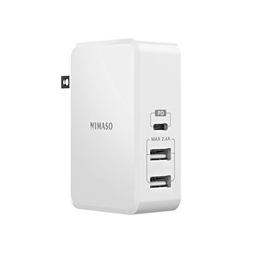 NIMASO USB C Wall Charger,3-Port 61W with Power Delivery 3.0 USB Type C Wall Charger Adapter Fast Charging for MacBook Pro/Air, iPad Pro, iPhone XR/XS/Max/X/8, Pixel, Galaxy and More