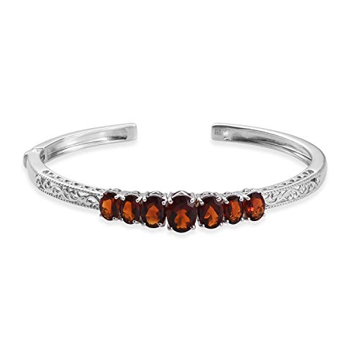 "Cuff Bangle Bracelet 925 Sterling Silver Platinum Plated Oval Red Citrine Jewelry for Women Size 7.25"" Ct 5.5"