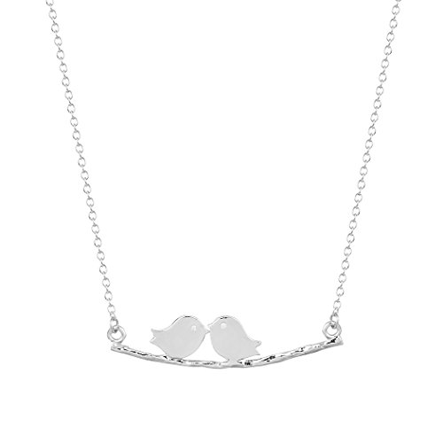Love Birds Necklace - CHUYUN Gold Tiny Double Sparrow Bird on Branch Love Pendant Necklace (Silver)