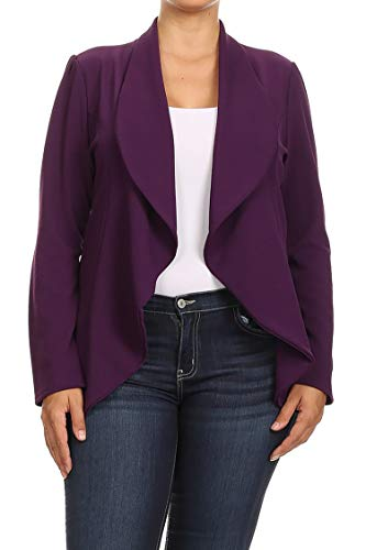 (Solid Print Plus Size Casual Comfy Open Front Jacket Blazer/Made in USA Plum 2XL)