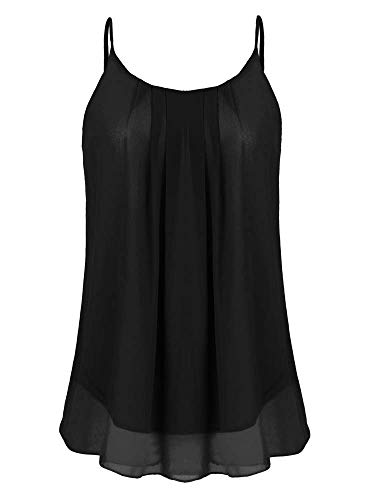 Sherosa Women's Plain Swing Strappy Tanks Loose Fit Black ()