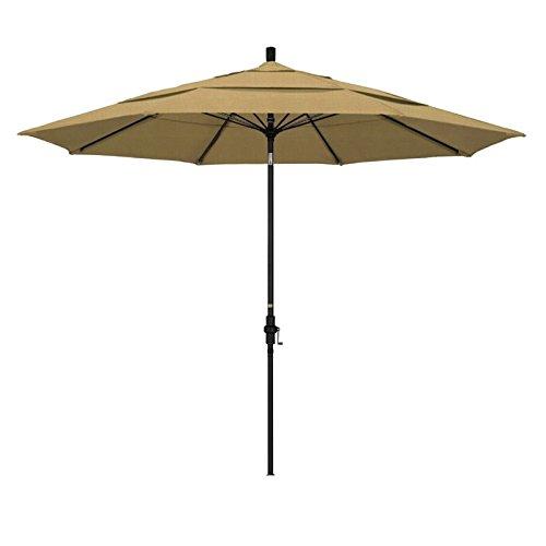 California Umbrella 11' Round Aluminum Pole Fiberglass Rib Market Umbrella, Crank Lift, Collar Tilt, Black Pole, Champagne Olefin
