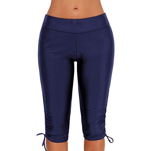 NOMUSING Womens Plus Size Capris Long Swim Shorts Tankini Bottom Swimsuit Solid Tankini Swim Briefs Bottom Boardshort Dark Blue