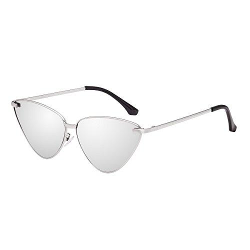 Sunglasses Women WISH CLUB Retro Vintage Tinted Lens Cat Eye Sunglasses Mental Frame