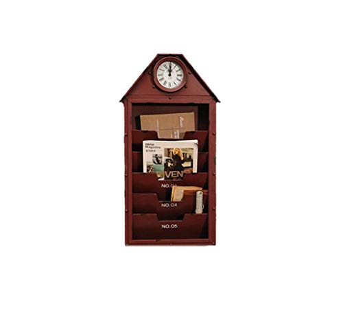 ZLZGZ Vintage Wall Clock, Wall Magazine Storage, Hall Bar Cafe, Black + Red (Color : Red)