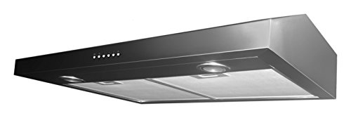 Ancona Stainless Steel Slim 5-Inch High 300 CFM 4-Speeds Under Cabinet Range Hood, (300 Cfm Motor)